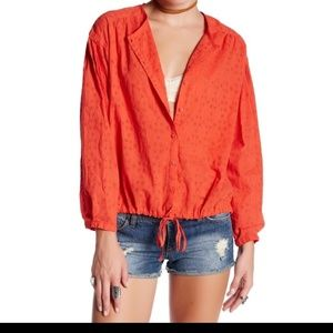 Free People Stars Align Red Eyelet Blouse